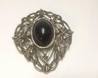 Antique Victorian Brooch with Black stone center influenced by art nouveau