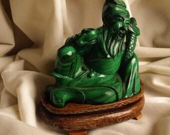 Antique Chinese malachit statue figurine sculpture immortal hero zhong kui green crystal stone