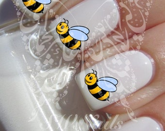 Bee nail art etsy animal nail art bee nail water decals transfers wraps prinsesfo Image collections