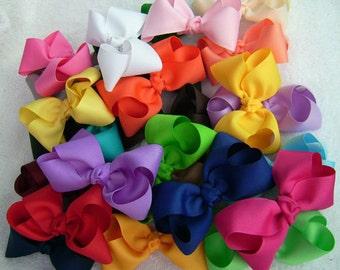 5 Boutique Hair Bows,  Wholesale Boutique Hair Bow,  Hair Bows for Girls,  Boutique Hair Bows for Girls,  Hair Bow Set, 20 Colors