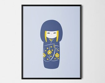Japanese Kokeshi Print Pop Art Doll Illustration Poster [grey]