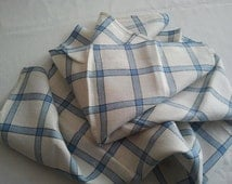 Vintage 1950's Linen Tea Towel Blue and White French Linen