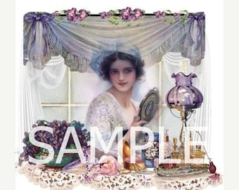 Fabric Block *The Vanity* Harrison Fisher Collage  14-0279- FREE SHIPPING