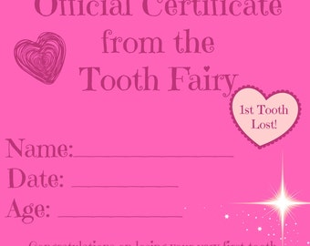 First Lost Tooth Certificate & Tooth Fairy Receipts