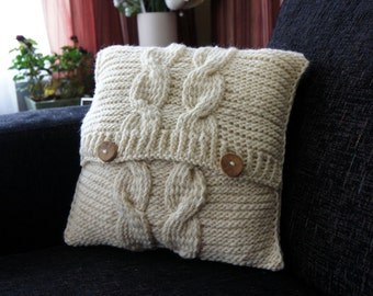 Cable Knit Pillow Cover, Pillow cover, Decorative Pillow Cover, Accent Pillow Cover, Decorative Pillow Cover, Cream White,16x16