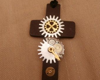 Steampunk Cross, Handmade in the UK