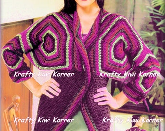 Crochet Hexagon Motifs and Stripe Winter Jacket - Made to Order