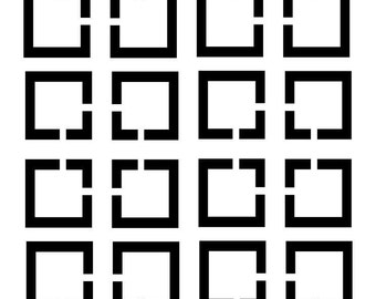 Squares With Cut out SVG Cutting Pattern - For printing, stencils, cutting and material printing