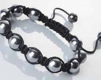 Magnetic Hematite  Bracelet, Silver Bracelet, Hematite Ball Beads, homeopathic healing, Shambala Bracelet, Mens Bracelet , Womens Bracelet