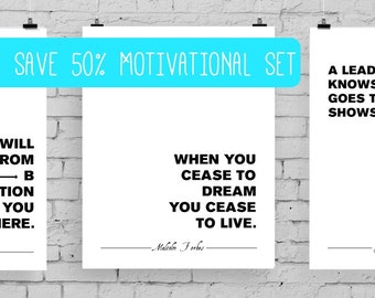 MOTIVATIONAL POSTER SET quotes by  Maxwell, Trump, Einstein, Forbes, Lombardi on topics: leadership, thinking, imagination & ambition