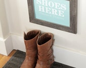 Shoes Off Sign - Digital and Printable - Navy / Grey / Aqua / Custom Colors (Remove shoes sign / Take Shoes off sign / No shoes sign)