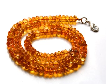 Natural 16 inch  Super Rare AAA Golden Citrin Faceted Rondelles   Shape Beads Necklace Size 6 TO  7 MM
