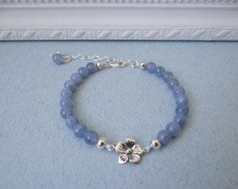 """Bangle"""" Aigue-Marine et Fleur d' Argent """" - Fine stone of Aquamarine on Silver 925"""