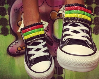 Converse All Star Custom Studded Jamaican Rasta Style Shoes - Chuck Taylors! ALL SIZES & COLORS! Rastafarian Shoes; Reggae Style; Festivial;