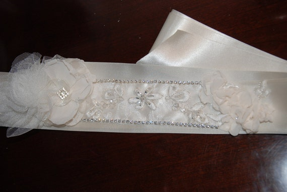 Ivory satin ribbon flower bridal sash/belt; wedding dress accessory;bridal sash;