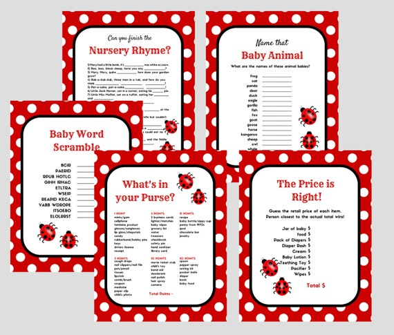 Items similar to ladybug printable baby shower games baby word
