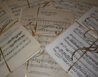 Recycled Sheet Music Paper Ephemera, Music Sheets for Arts & Crafts -packs of 20