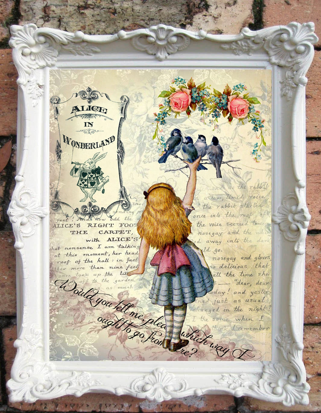 Alice in wonderland quote art print alice in wonderland party - Shabby chic decor for sale ...