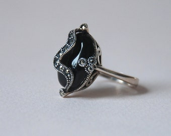 Black Onyx Gemstone Sterling Silver Athuentic Turkish Hand Crafted Ring