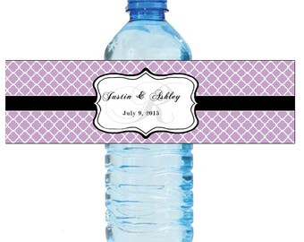 Lilac Monogram Water Bottle Labels Great for Engagement Bridal Shower Wedding Anniversary Birthday Party 2 sizes available