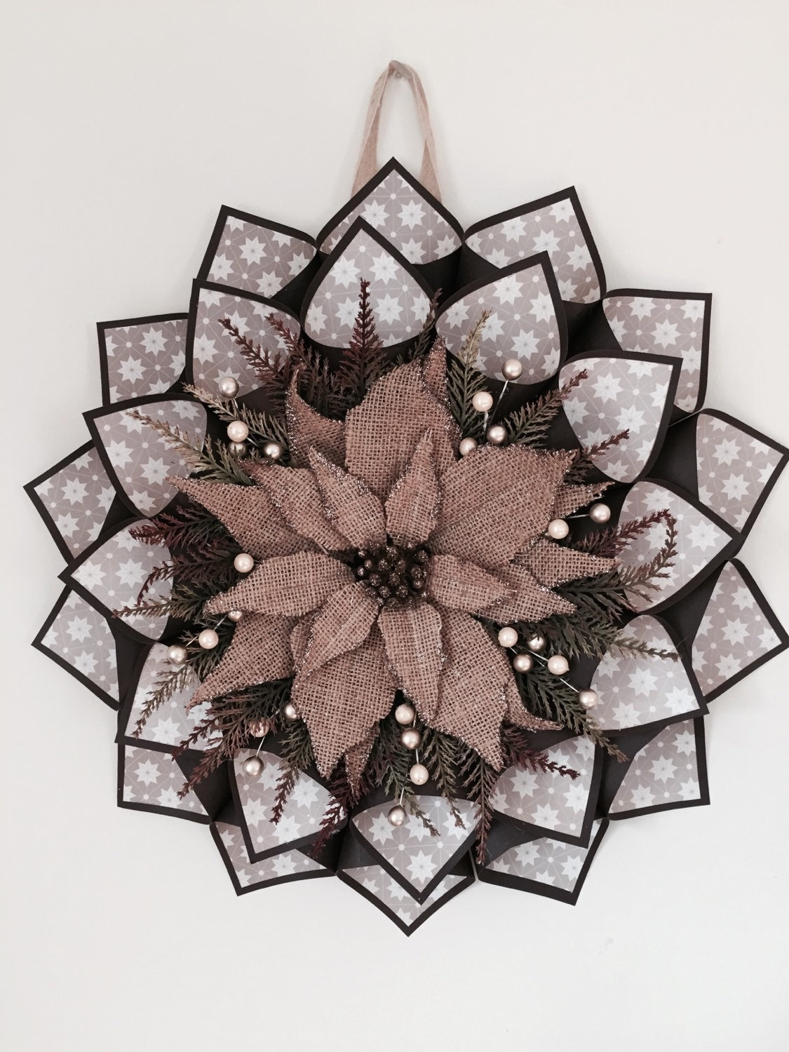 Sale large paper cone wreath in shades of brown and by for Cardboard cones for crafts