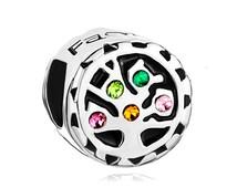 Colorful crystal birthstone Family Tree Of Life charm fits Pandora Bracelet chain/Tree of Life charm/fit European charm bracelets