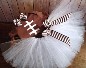 Baby Girl Football Outfit, Football Tutu, Children's Super Bowl Dress, Brown and White Dress, Girl's 3 Piece Football Outfit