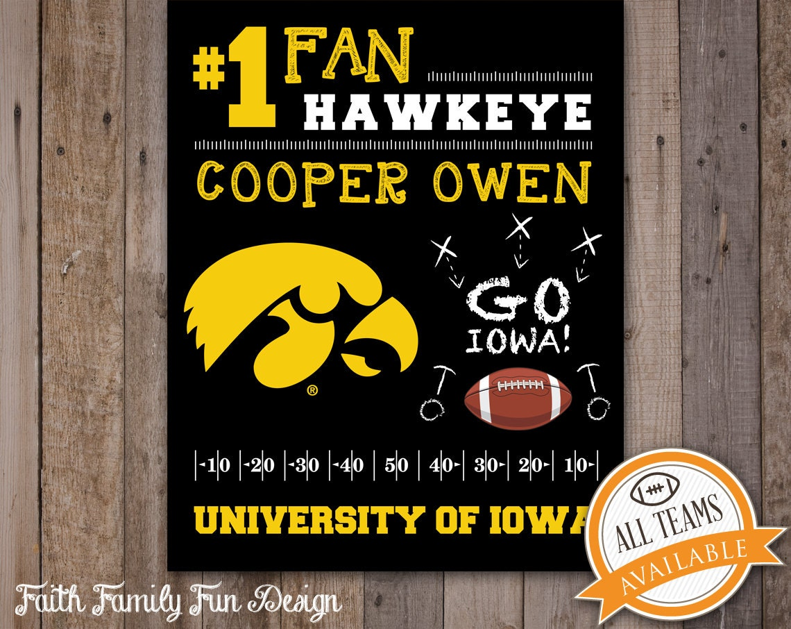 Iowa hawkeyes inspired team sign college football decor man for Iowa hawkeye decor