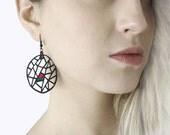 Earrings - contemporary, modern jewelry design, FREE Shipping, unique, original, handmade, lasercut  wood, polymer clay, black steel