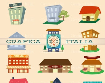 Buildings and Houses Clipart  - Urban City Clip Art - 19 Item Digital Download Graphic Design Elements - Collage Scrapbooking DIY