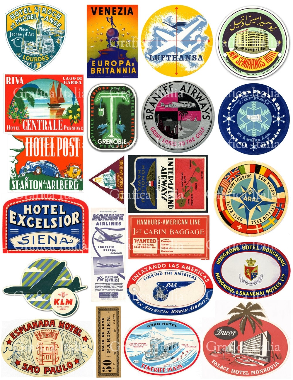22 Travel Luggage Labels Retro Digital Printable Collage