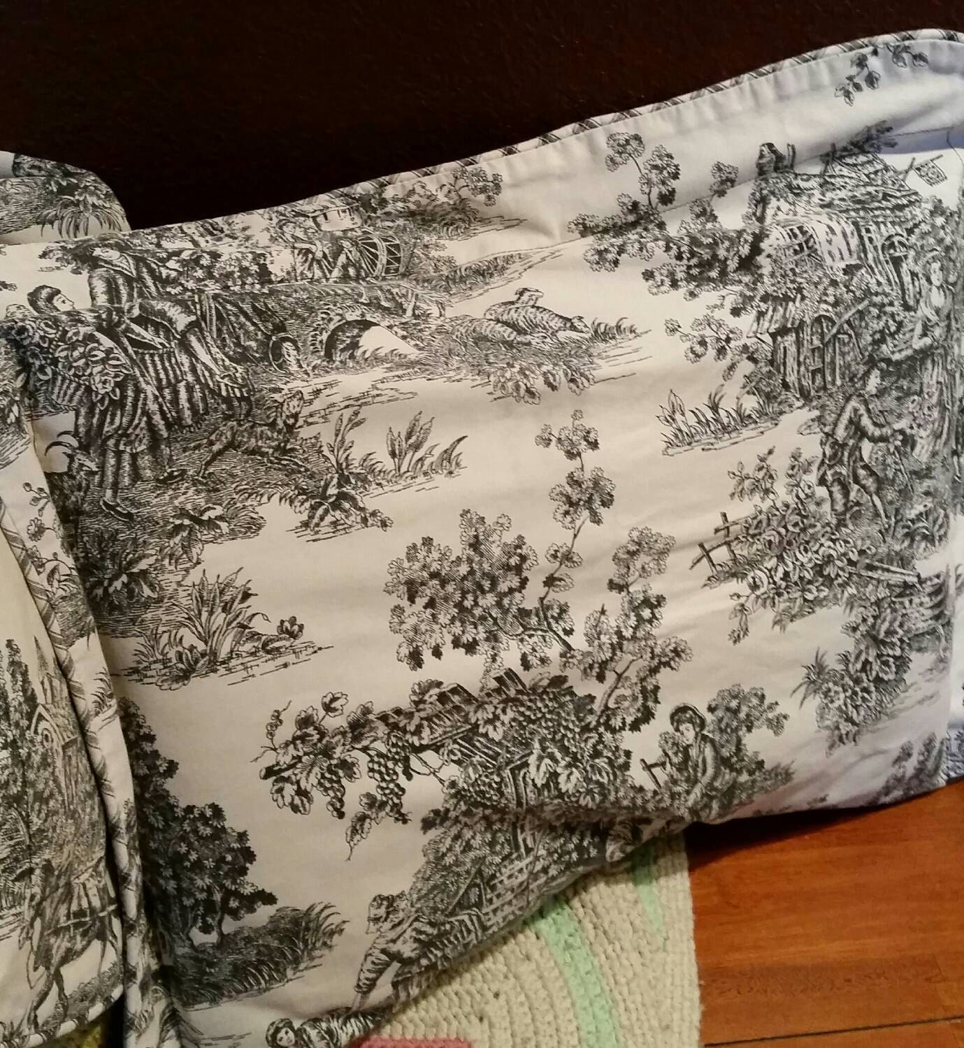Vintage waverly french toile set of 2 pillow shams shabby chic for Toile shabby chic