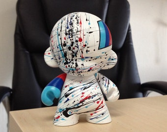 7in Motorsport Munny hand painted by emKel - White - MADE TO ORDER