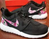 Nike Roshe Run Black White Azalea Garden Floral Print Custom Men & Womens