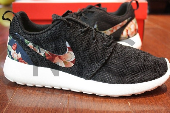 456aef59ce20 Nike Roshe Run Black Anthracite Asian Garden Floral by NYCustoms 60 ...