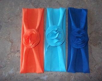 PICK 3 - Jersey knit Single Flower Headband, Jersey knit Stretch Headband, Jersey Flower, Girls, Toddlers, Women, Infant