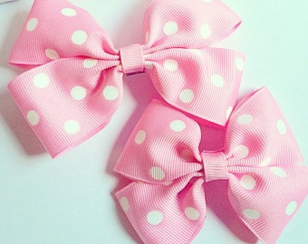 MADE TO ORDER Minnie Mouse Inspired Pink Polka Dot Boutique Hair Bow