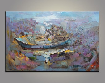Landscape Painting Fishing Boat at Night Large Original Painting Abstract Art Texture Palette Knife Oil Painting Large Painting Oil Painting