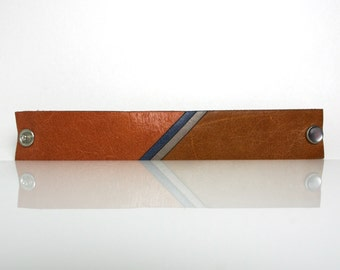 Stripe: Modern Laser Cut Leather Mosaic Cuff Bracelet