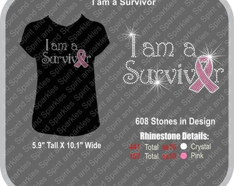 I Am a Survivor Rhinestone T-Shirt, Tank or Hoodie