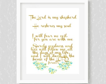 Psalm 23, Scripture, inspired,Bible Verse Art,Christian Decor,psaml 23,Bible Passage,Instant Download,the Lord Is My Shepherd,hand lettered