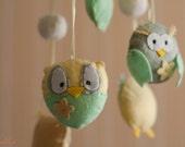 Baby eco mobile-Owls mobile-Woodland nursery-Perfect nursery decor-Neutral light green yellow mobile-Felt mobile-Nature mobile-Custom order