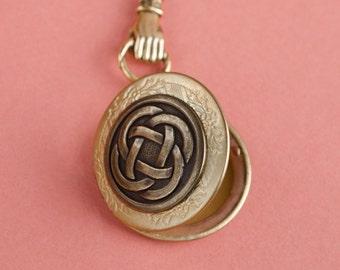 Celtic Knot Locket, Vintage Locket Necklace, Secret Locket, Antique Locket, Gift for Her, Irish Locket,