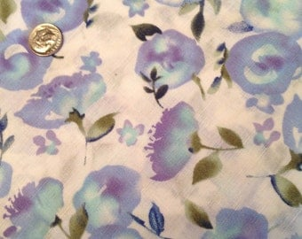 Blue floral print on light weight linen OOP HTF