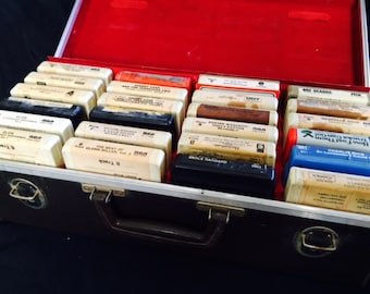 Vintage 8-track case full of tapes