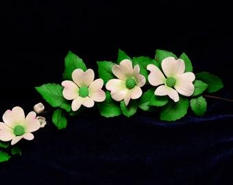 Gum Paste Dogwood Sugar Flower Spray With Leaves