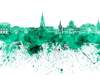 Bern skyline in watercolor on white, 8 monochrome colors, and full color - SKU 0441