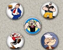 Set of 5 Buttons - Popeye -  PLEASE READ DESCRIPTION
