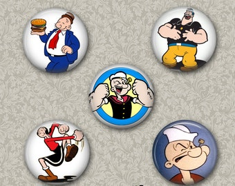 Set of 5 Buttons - Popeye -  PLEASE READ DESCRIPTION
