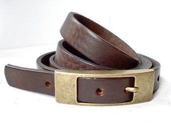 Thin Leather Belt in Vintage Style- Handmade in London - In Various Colours